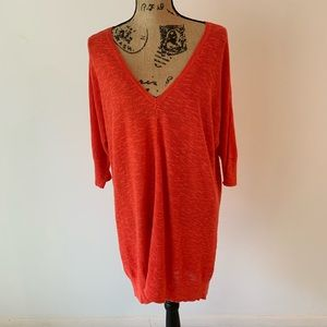 Eileen Fisher Long V-Neck Red Sweater Dress Sz Lg